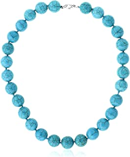 Best 16 Inch Round 14MM Green Simulated Turquoise Howlite Necklace with Lobster Clasp Review