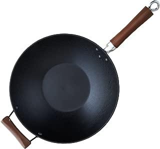 IMUSA USA GKG-61021 Light Cast Iron Wok with Wood Handles 14-Inch, Black