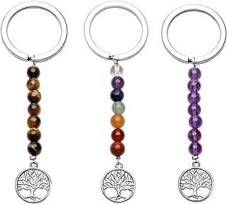 Qgem - Llaveros con cadena de 7 piedras naturales y colgante del árbol de la vida, 3 unidades, piedra, Gemme oeil de tigr...