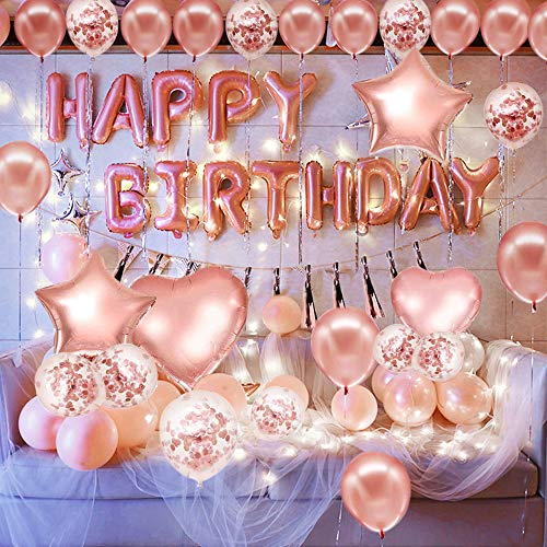 Pink and Gold Birthday Decorations Party Supplies Set (50 PC), Balloons, Tassels, Banner, Dispensing, Pump for Birthday Party - Princess Party - Ballerina Party - Bachelorette Party