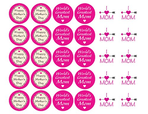 """Assorted Mother's Day Labels 1-1/2"""" - 30 Stickers Per Sheet, 1 Sheet Per Pack"""