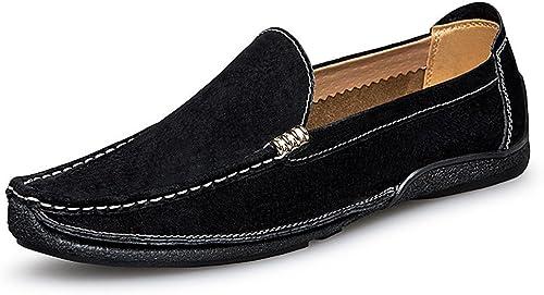 GYB Mocassins de Conduite pour Hommes Travail Manuel Suture Suede Chaussures habillées en Cuir véritable Penny Boat