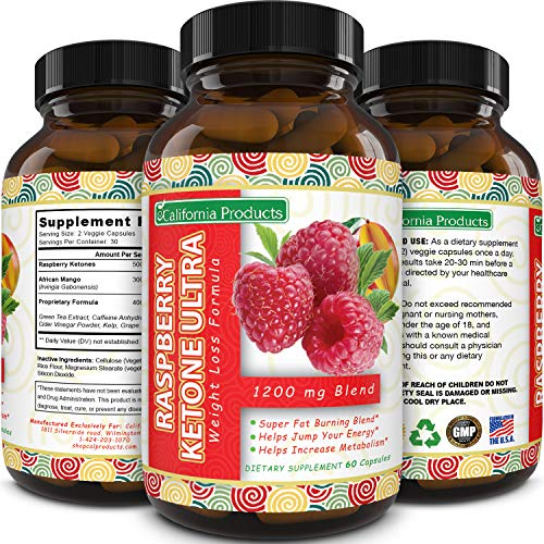 California Products Pure Raspberry Ketones Supplement Natural Fat Burner and Appetite Suppressant Boosts Metabolism and Reduces Belly Fat Fast Weight Loss Product for Men and Women 60 Capsules