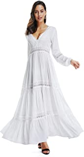 SUNJIN ACRO Women's Sexy Deep V Neck Elegant Lace Backless Long Sleeve Boho White Maxi Dress
