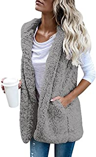 Ausexy Womens Vest Coat Faux Fur Zip Up Sherpa Jacket Winter Warm Hoodie Outwear Casual Plush Daily Pocket Overcoat Women Clothing