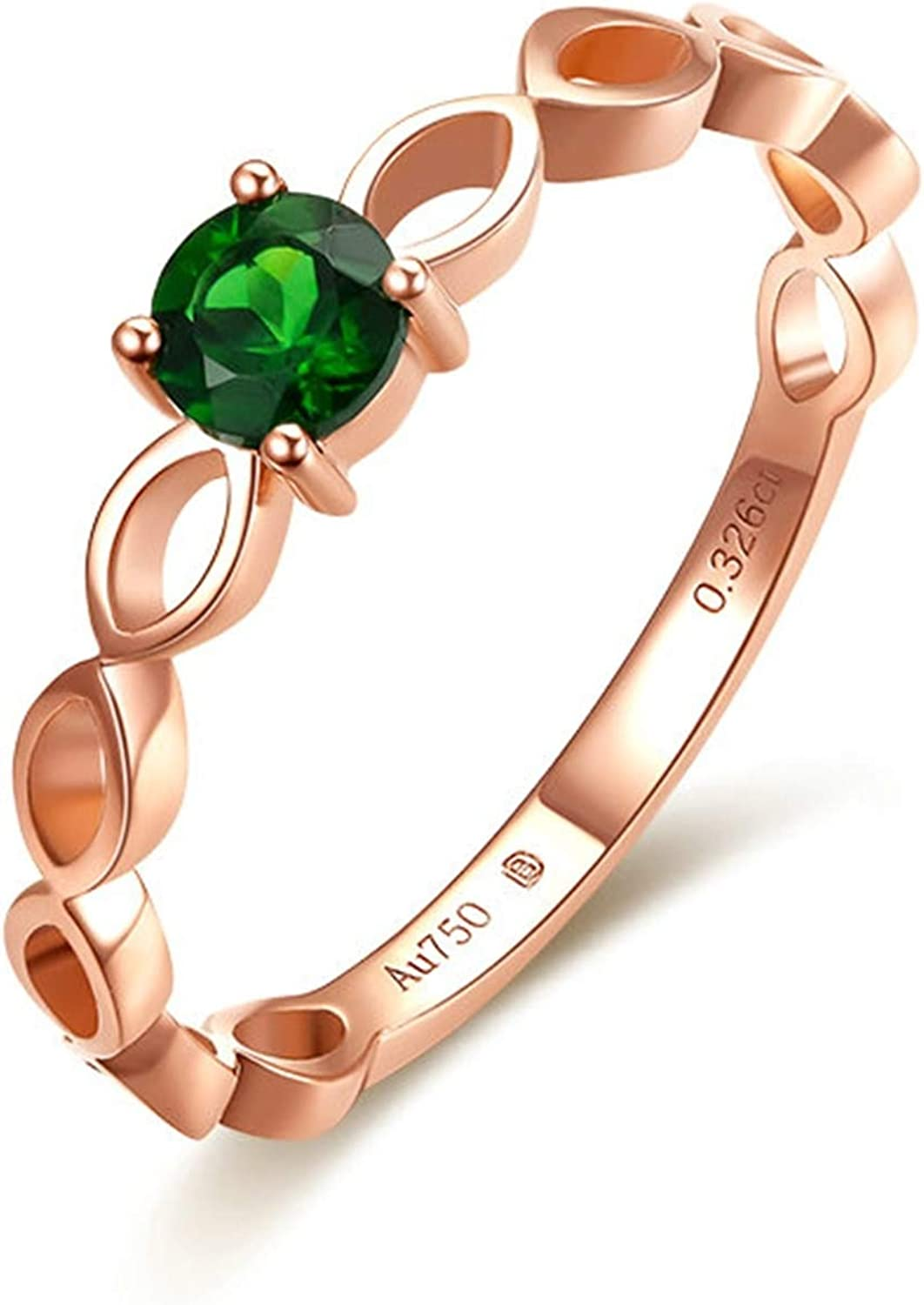 KnBoB Promise Ring Hollow Green 70% Milwaukee Mall OFF Outlet 18K Gold Diopside Wedding Rose