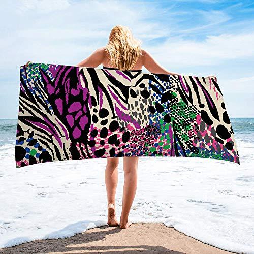 Surwin Toalla de Playa Grande, Microfibra Leopardo Impresión Secado Rápido Toalla de Piscina Toalla de Arena Antiadherente para Verano Playa, Yoga, Picnic, Hotel (Multicolor,80x160cm)