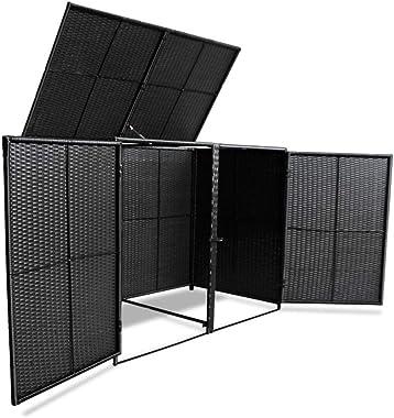 "Tidyard 2 Wheelie Bin Shed Storage with 2 Individually Doors for Garden Poly Rattan Black 58.3""x31.5""x43.7"""