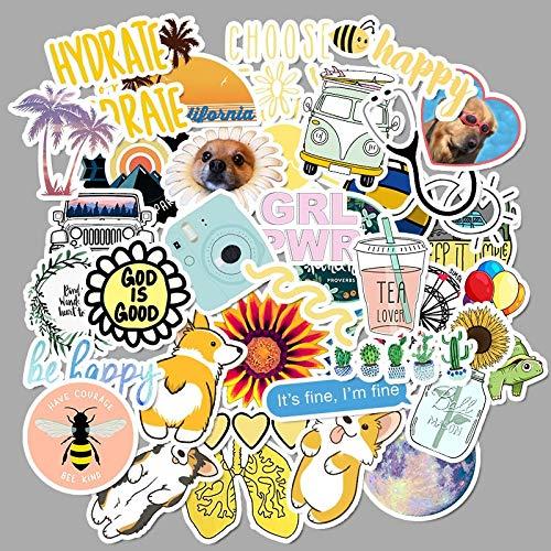 50 PCS Cartoon Yellow Girl Stickers For Chidren Toy Waterproof Sticker to DIY Suitcase Laptop Bicycle Helmet Car Decals