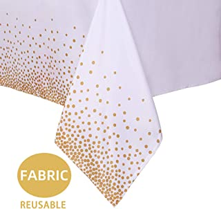sancua Polka Dot Rectangle Tablecloth - 60 x 84 Inch - Water & Stain Resistant Washable Polyester Table Cloth, Decorative Party Table Cover for Dining, Weddings & Everyday Use, Gold, White
