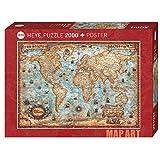 Heye Mapa de The World Standart 2000 Piezas (Incluye póster), Color marrón (KV&H Verlag GmbH 29845)