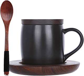 KKC Coffee Mug Ceramic Cup with Spoon,Wood Lid and Wooden Tray for Coffee Tea 13.5 FLoz