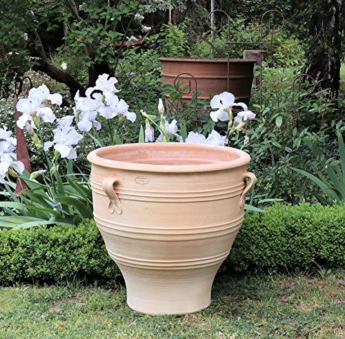 Kreta Keramik Pot de fleurs en terre cuite avec anse - Fabriqué à la main et résistant au gel - Pot de fleurs en différentes tailles - Décoration de jardin - 35-80 cm - Rose (60 cm)