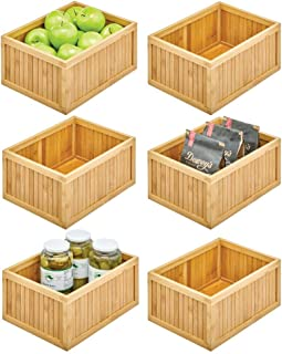 mDesign bac de rangement pour la cuisine – boite de tri écologique en bambou – casier de rangement polyvalent pour aliment...