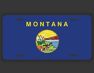 JMM Ind. Montana State Flag License Plate Tag Vanity Novelty | Big Sky Country | UV Resistant Print | UVP001