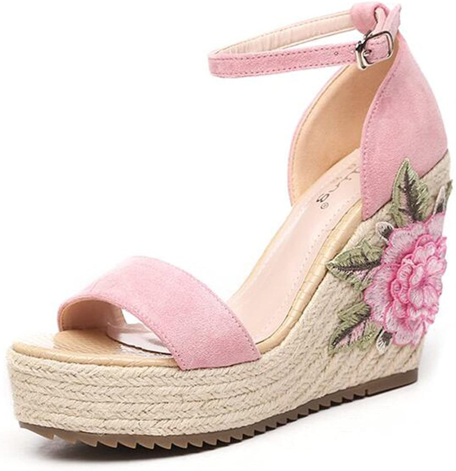 Jinsen Summer shoes Ethnic Style Slope Sandals Bohemia Flowers Embroidery Women's shoes