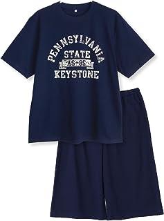【ノーブランド品】 綿100%春?夏 半袖メンズパジャマ 柔らかく軽い薄手のTシャツパジャマ上下セット アメカジプリント