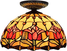 Tiffany Ceiling Fixture Lamp Semi Flush Mount 12 Inch Tulip Stained Glass Lampshade for Dinner Room Living Room Bedroom Li...