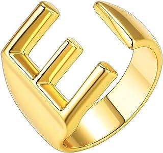 HUASAI خاتم الذهب الأولي للرجال خواتم مكتنزة الذهب حرف خاتم خاتم قابل للتعديل مفتوح للنساء