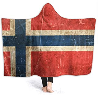 MAOYIHO Polo Vintage Aged and Scratched Norwegian Flag 3D Hooded Blanket Kids & Adults Sherpa Fleece Blanket