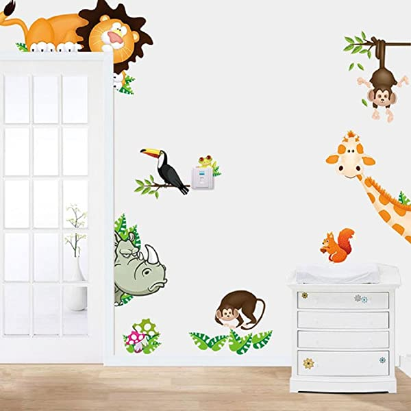 Wall Sticker FTXJ Vivid 2016 Removable Jungle Animal Kids Baby Nursery Child Home Decor Mural Wall Sticker Decal