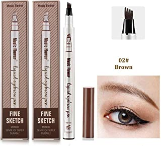 Ownest 2 Pack Eyebrow Tattoo Pen,Waterproof Long Lasting Eyebrow Penci,with a Micro-Fork Tip Applicator Creates Natural Looking Brows Effortlessly-Brown