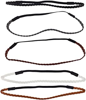 Lux Accessories Assorted Pu Leather Braided Stretch Headband Headwrap Set 5PC
