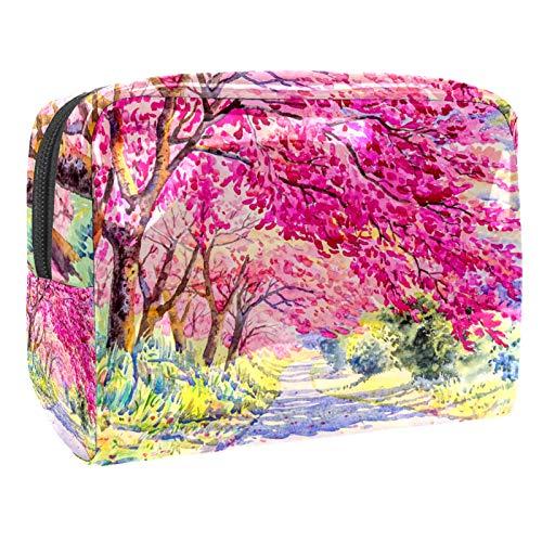 Makeup Bag Watercolor Cherry Blossom Travel Makeup Bag Cosmetic Cases Organizer Portable Storage Bag Toiletry Bag 18.5x7.5x13cm