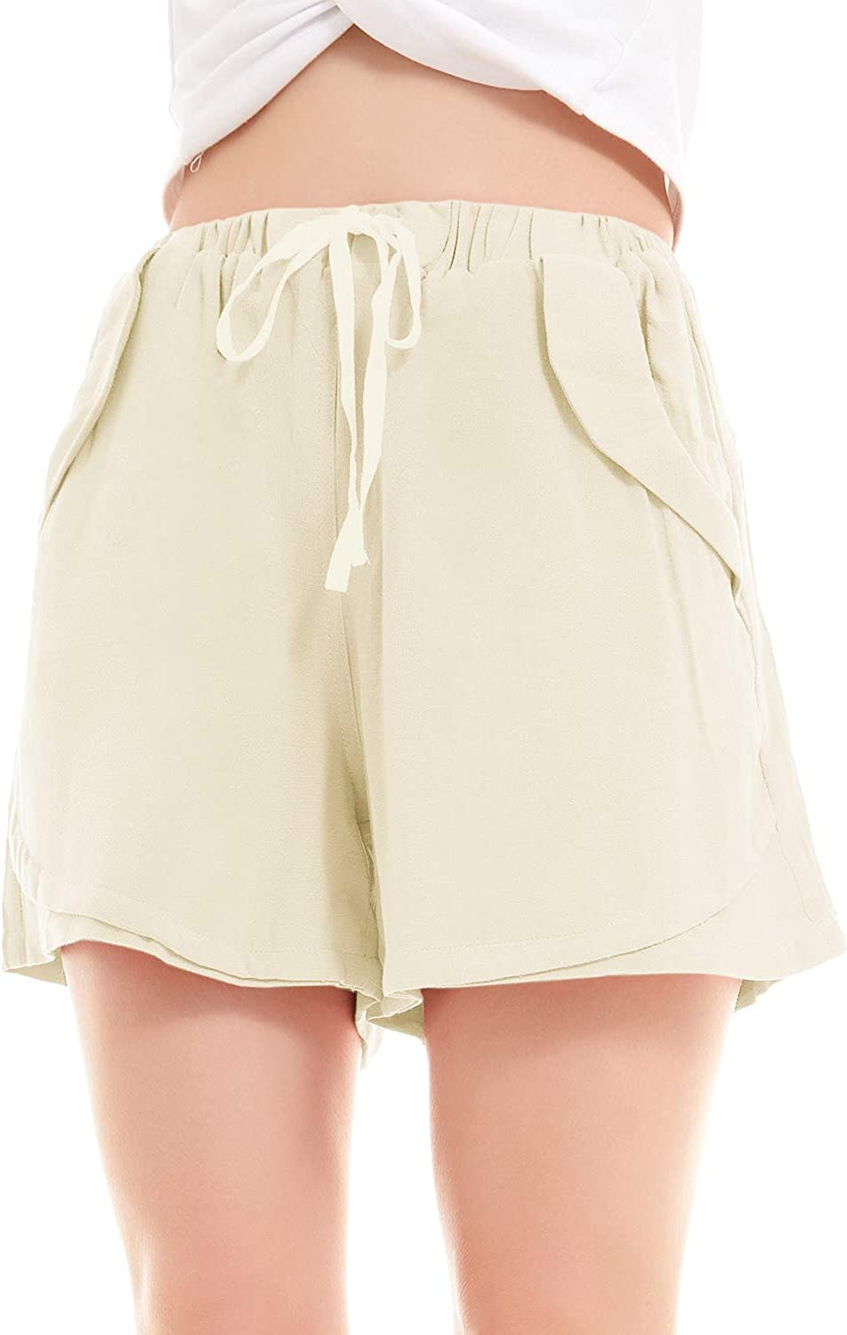 SMENG Womens Solid Colour Drawstring Shorts with Pockets Loose Casual Pants