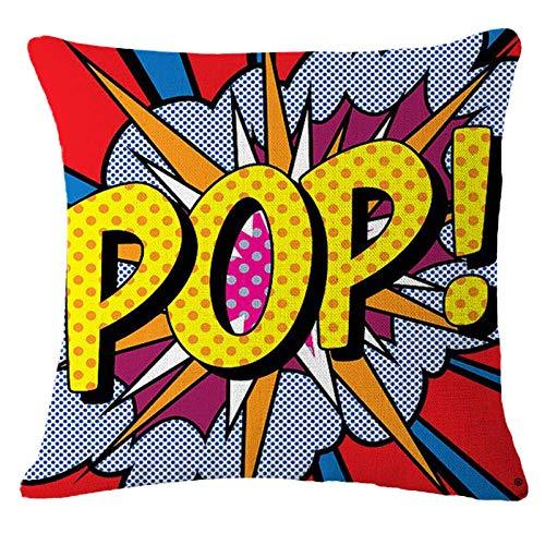 JIAORLEI With Pillow & Cushion Innermodern Pop Art Cushion Covers Super Hot Cartoon Pop Print Pillows Case Sofa Chair Bed Livingroom Decorative Pillows Cover-40X40Cm