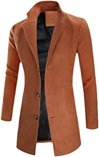 YULEgowinner Men Outerwear Overcoat Casual Classic Fit Winter Single Breasted Pea Coat