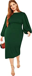 Milumia Women's Plus Size Round Neck Long Lantern Sleeve Belted Pencil Dress