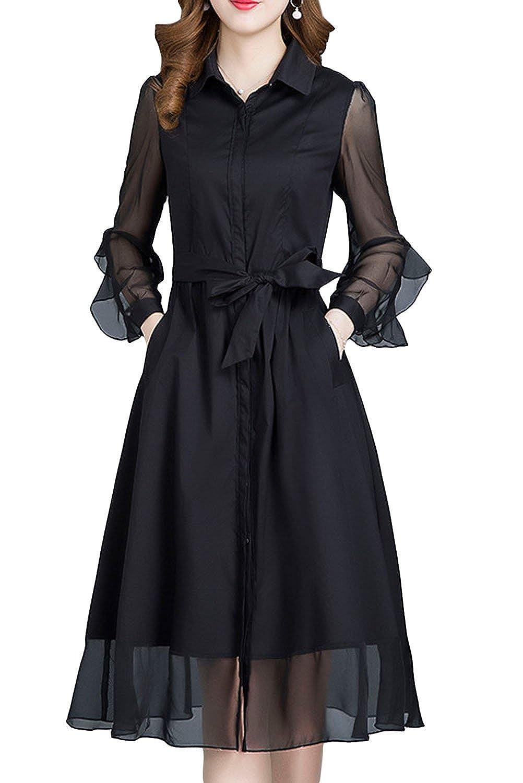 [美しいです] レディース シャツ ワンピース スリム 通気 OL 夏 秋 ベルト ロング丈 フリル