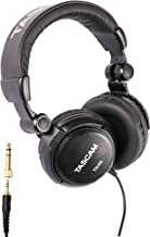 Tascam TH-03 Studio Headphones – Closed Back, Padded, Adjustable Pro Audio Headset with Gold Tip 1/8 inch to 1/4 inch Adaptor