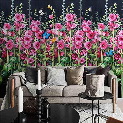 ZJfong muur papier 3D muurschilderingen Aangepaste woonkamer slaapkamer Europese high-Definition olieverfschilderij mahonie vlinder behang 70 cm.