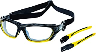 Sellstrom Polycarbonate Sealed Safety Glasses/Protective Eyewear, Clear Lens, Hard-Coating, Detachable Soft Co-Molded Temples, U.S. Military Ballistic Rated, Yellow/Black with Clear Tint, S70000