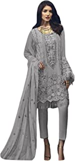 Grey Women Party Wear Heavy Embroidered Georgette Pant Suit Dupatta Indian Pakistani Muslim Bollywood Dress 6215