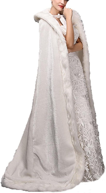 Diandiai Women's Long Winter Women Wraps Cape Faux Fur Wedding Snow Wear Shawl