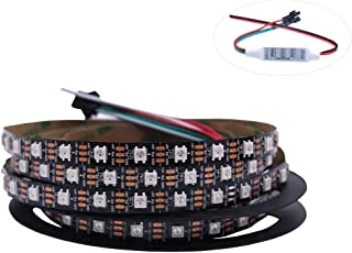 HJHX Ws2812b Led Strip 16.4ft 300LEDs Individually Addressable Led Light,SMD5050 RGB Magic Color Flexible Rope Lights (Non-Waterproof)