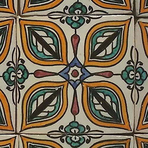 Casa Moro Marokkanische Keramikfliese Rabia 10x10 cm bunt handbemalte orientalische Fliese Kunsthandwerk aus Marokko Wandfliese für schöne Küche Dusche Badezimmer | HBF8028