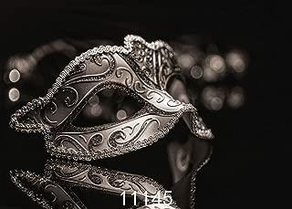 WOLADA 7x5 Mardi Gras Mask Photo Backdrop Masquerade Carnival Photography Backdrop Black and Gray Vinyl Photography Background for Photo Studio Prop 11145