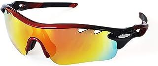 Brown Labrador Gafas Ciclismo polarizadas con 5 Lentes Intercambiables UV 400. Gafas Deportivas, Running Trail Running, Ciclismo BTT, para Hombre y Mujer (Negro)