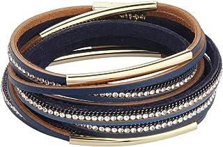 TASBERN Leopard Print Leather Wrap Bracelet in Multilayer Strands Leahter Cuff Bracelets for Women Mother Wife