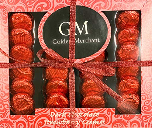 Golden Merchant Dark Chocolate Finest Flavour Dark Chocolates Cremes Gift Box Suitable for Vegetarians 200g 24 Luxurious Cremes - Strawberry, Salted Caramel, Mint Crisps (Strawberry Cremes)