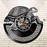 FDGFDG Alte Meeresschildkröte Moderne Wandbehang Dekor Kunst Vinyl Schallplatte Wanduhr Ozean Reptil Tierschildkröte Wohnzimmer Wanduhr