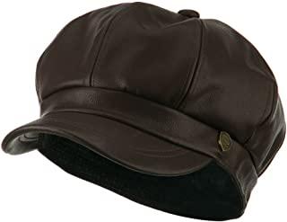 City Hunter Faux Leather Spitfire Hat - Brown