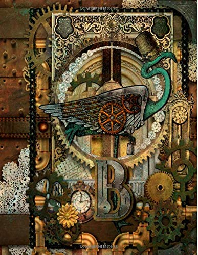 B:: Steampunk Unique Flamingo Themed Journal, Diary, or Notebook with Monogrammed Initial...