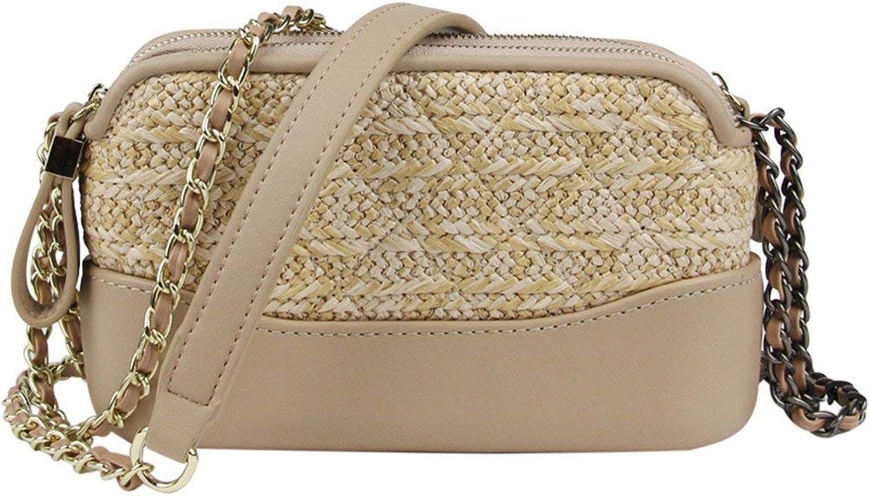 Huasen Evening Bag Woven Bag Straw Bag Female New Chain Bag Shoulder Messenger Bag Party Handbag