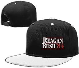 VISIONAA Reagan Bush 84 White Baseball Hats Unisex Adjustable Flat Bill Visor Hip-Hop Caps