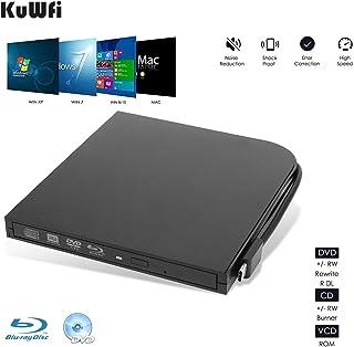 Grabador Blu Ray Externo Grabador de CD y DVD Externo USB2.0 portátil Reproductor Ultra Delgado Lector de Quemador para Ordenador portátil y de Escritorio